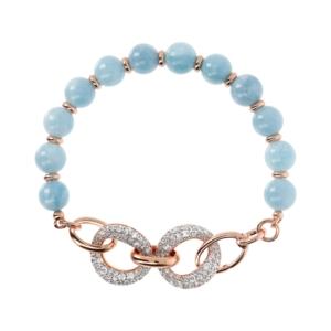 Round Plain Rose Quartz Gemstone Bracelet WithCubic Zirconia Links